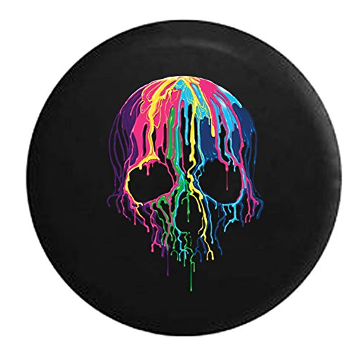 American Unlimited Melting Wax Skeleton Skull Neon Colors Spare Tire Cover (Fits: Jeep Wrangler Accessories or SUV Camper RV) Black 33 in (Skull Jeep Tire Cover)