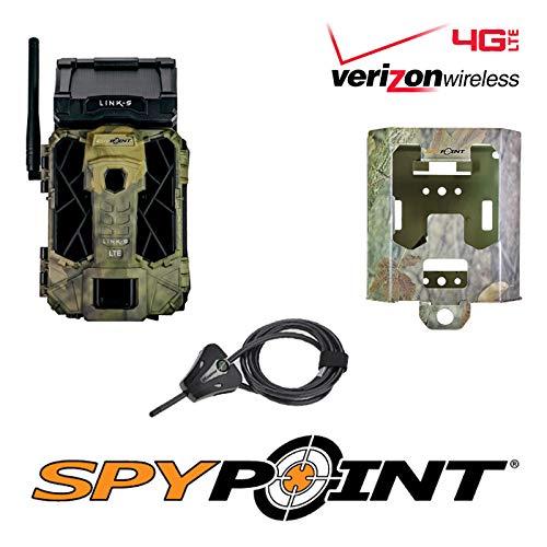 SPYPOINT Link-S-V Cellular MMS Trail Camera 4G/LTE (VERIZON) IR Infrared Solar Powered Trail Camera with SB-200 Lock Box & Python Locking Cable Free 16GB SD Card(4G Camera, Lock Box, Cable, SD Card)