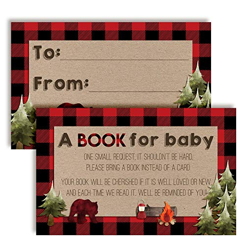 """Oh Boy! Outdoorsy Red and Black Plaid Lumberjack """"Bring A Book"""" Cards for Boy Baby Showers, 20 2.5"""