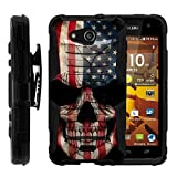 TurtleArmor | Compatible with Kyocera Hydro Wave Case | Hydro Air Case [Hyper Shock] Hybrid Dual Layer Armor Holster Belt Clip Case Kickstand - US Flag Skull