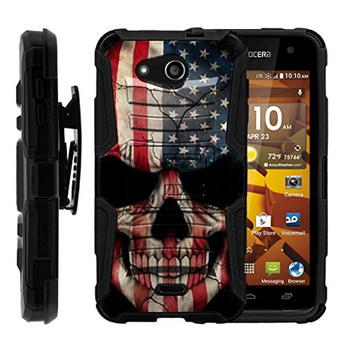 TurtleArmor | Kyocera Hydro Wave Case | Hydro Air Case [Hyper Shock] Hybrid Dual Layer Armor Holster Belt Clip Case Kickstand - US Flag ()