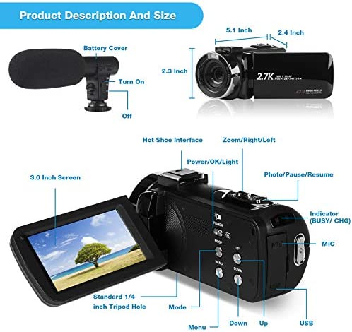Video Camera Camcorder 2.7K Vlogging Camera for YouTube 42MP Digital Camera Camcorder 18X Digital Zoom 3.0 Inch Screen 270° Flip Video Camcorder with Microphone/Remote/2 Batteries/32GB SD Card