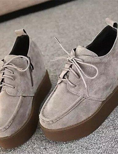 Zapatos de mujer Wedge talón punta redonda Casual Zapatillas moda Negro/Gris gray-us7