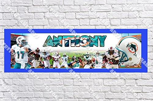 Personalized Miami Dolphins Banner - Includes Color Border Mat, With Your Name On It, Party Door Poster, Room Art Decoration - (Miami Dolphins Banner)