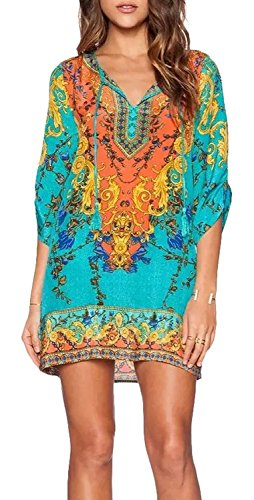Women-Bohemian-Neck-Tie-Vintage-Printed-Ethnic-Style-Summer-Shift-Dress