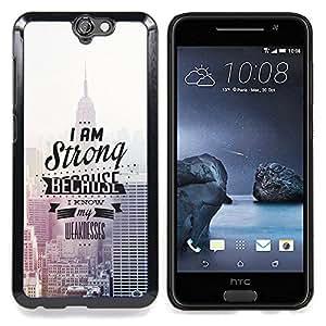 """Qstar Arte & diseño plástico duro Fundas Cover Cubre Hard Case Cover para HTC One A9 (Tipografía Empire State Building"""")"""