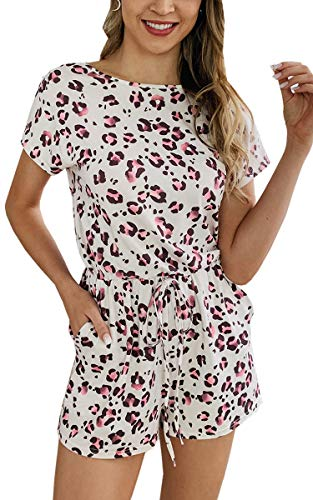 Angashion Women's Jumpsuits - Short Sleeves Round Neck Leopard Printed Drawstring Belt Romper with Pockets 099Beige L ()