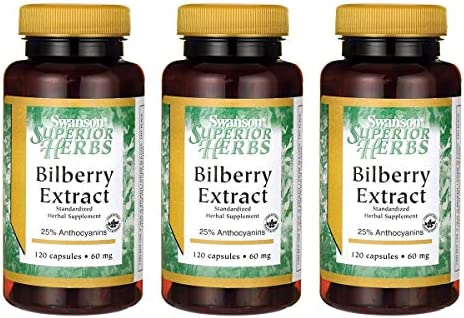 Swanson Bilberry Extract Standardized 60 Milligrams 120 Capsules 3 Pack
