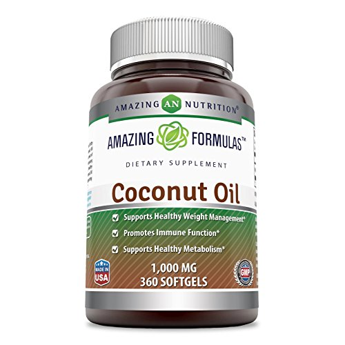 Amazing Formulas Coconut Oil – 1000 Mg, 360 Softgels – Supports Healthy Weight Management – Promotes Immune Function – Supports Healthy Metabolism. Review