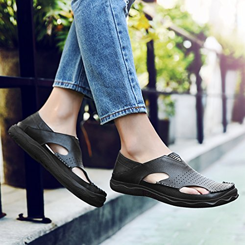 Toe Mens Closed Breathable Sole TDA Rubber Beach Black Sandals Summer Leather d7EnxqT