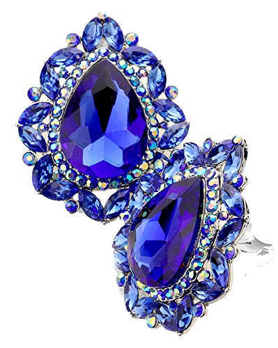 (Fashion Vintage Style Royal Blue & Iridescent Rhinestone Clip On/Non Pierced Earrings 1.5 in)