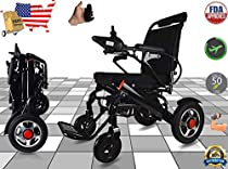 Ephesus M5   New Model   Portable Mobility Electric Motorized Wheelchair, Lightweight Easy to Carry, 360° Remote Control   Premium Quality Lithium Battery Included   Long Mileage Range (Black -Wide)