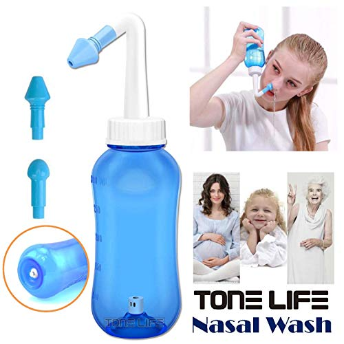 TONELIFE Nasal Rinse System - Neti Pot - Nasal Wash Bottle Nose Cleaner & Sinus Irrigation System 300ml 10oz for Adult and Child