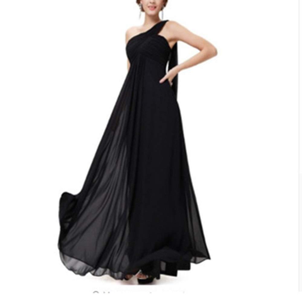 Black Women's Retro Long Skirt Womens Elegant One Shoulder Side Floor Length Evening Dress Lady Party Maxi Skirt Wedding Dress (color   Pink, Size   14)