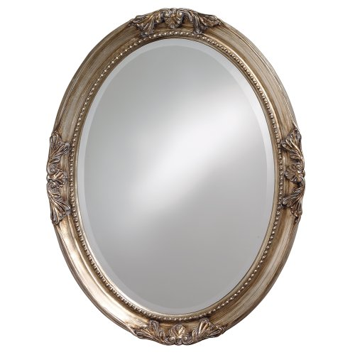 Howard Elliott 4015 Queen Ann Mirror, Oval, Antique Silver - Silver Frame Oval