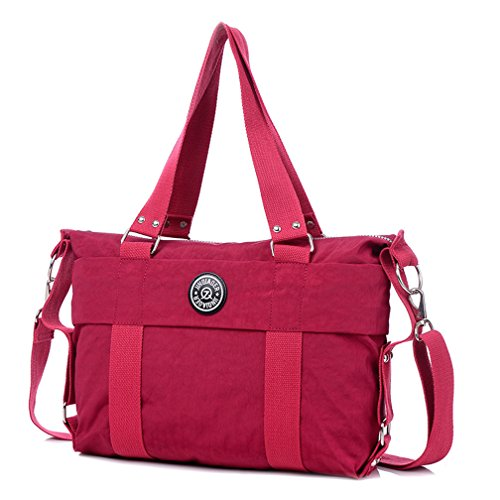 Nylon TianHengYi red Tote Water Crossbody Claret Bag Handbags Shoulder Strap Resistant Removable with Women's qtBFrta