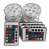 Tripop Waterproof LED Vase Light, RGB Color Changing and Batteries Operated Floral Lamp W/ Remote Control (4 Pack)