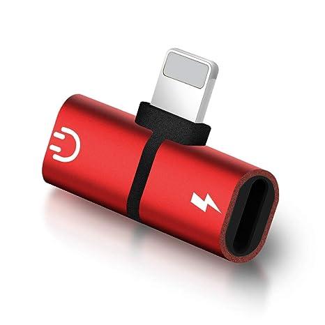 Cargador Nellmo + adaptador de auriculares compatible con iPhone7 / 7s / 8 / 8s / X todo el sistema iOS-Rojo