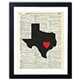Texas Capital With Heart Upcycled Vintage Dictionary Art Print 8x10