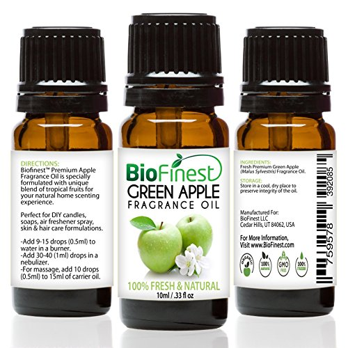 BioFinest Green Apple Fragrance Oil - 100% Pure & Natural - Fresh Home Scent - Air Refresher - Relaxing Aromatherapy - Skin and Hair Care - FREE E-Book (10ml) ()