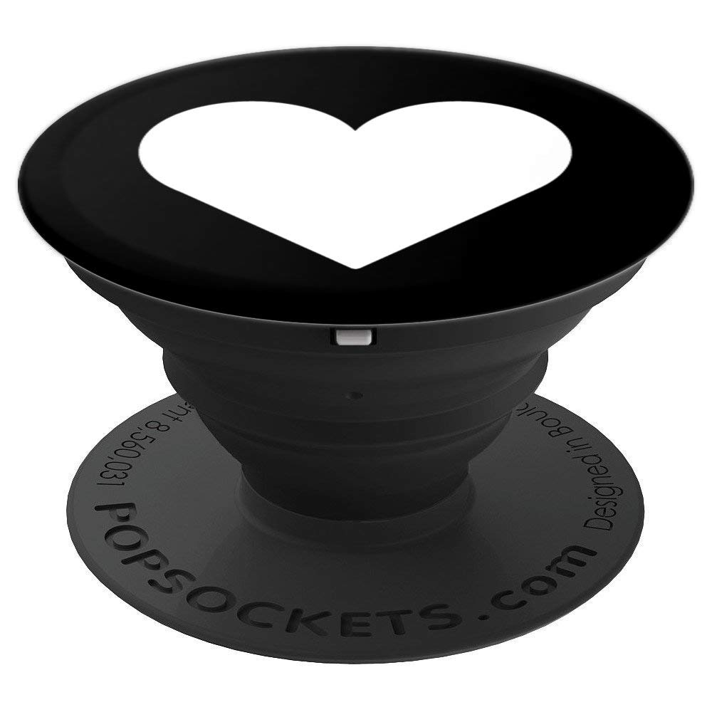 Amazon com white heart black design pop socket wife gift