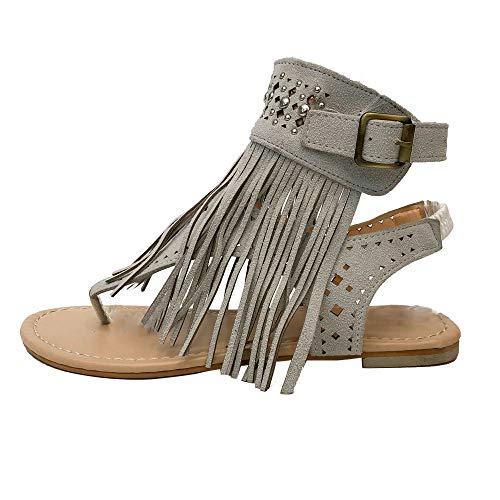 Corriee Womens Beaded Studded Fringe Flat Gladiator Sandals Girls Summer Flip Flops Beach Shoes Gray