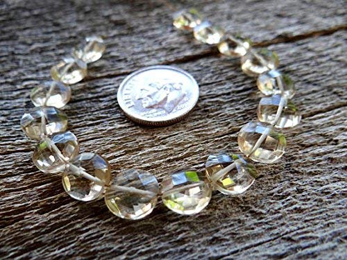 Citrine | Faceted Side Drilled Coin Beads | 9x9mm | Sets of 2, Sets of 4 by Gemswholesale