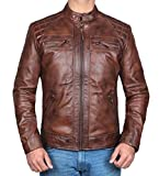 Mens Johnson Slim Fit Quilted Distressed Brown Real Leather Biker Jacket - M