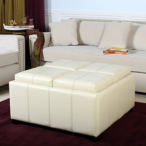 Ivory Leather Ottoman - 4