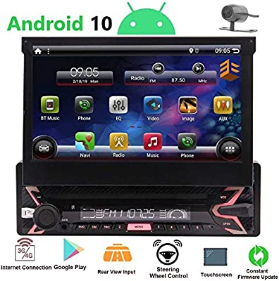 Pure Android 9.0 7 Flip Out Capacitive Touchscreen Single Din Radio GPS InDash Navigation System 1Din Car Stereo Bluetooth Multimedia Player Wifi Phone Mirror FM AM RDS USB With Rearview Camera/&MAP