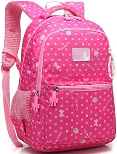0197dd6d526f2d Kid Girl School Backpack Water Resistant Elementary Dot Bookbag with Chest  Strap (Rose)