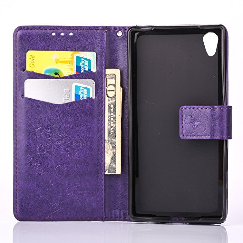 Sony Xperia X Case, Sony Xperia X Leather Case, Sony Xperia X Wallet Case,Cozy Hut Retro Vintage Embossed Plum Blossoms Pattern Pu Bookstyle Strap Leather Wallet Flip Protective Case Cover with Stand Purple