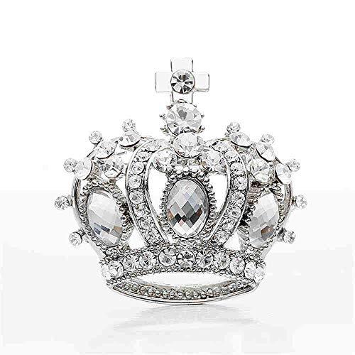 Sdcvopl Men's Brooch Pin Men's Silver Rhinestone Crown with Cross Brooch
