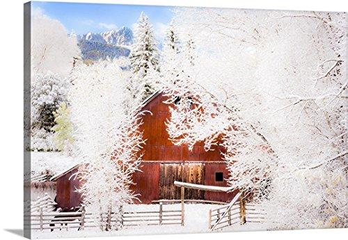 Joseph Roybal Premium Thick-Wrap Canvas Wall Art Print entitled Snow Blankets Ralph Lauren's Double RL Ranch, Mount Sneffels Range, CO - And Co Rl Double