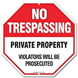 """Private Property Sign - No Trespassing Sign - Violators Will Be Prosecuted""""Legend - Large 12 X 12 Octagon Rust Free 0.40 Aluminum Sign"""