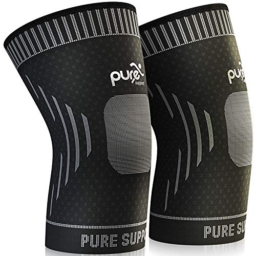 Knee Brace Compression Knee Sleeve - Knee Support Patella Stabilizer for Meniscus Tear - Arthritis Pain - Best for Running - Crossfit - Sports - Ideal for Women - Men Kids Pair Wrap