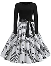 فستان GAGA نسائي ريترو طويل الأكمام متوسط الطول كوكتيل حفلة موسيقية سوينغ فساتين ميدي