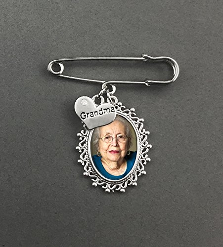 Oval Wedding Memorial Rhinestone Grandma Memorial Boutonniere Pin Set For Groom Father or Mother Of the Bride Groomsmen Bouquet Charm (Memorial Set)