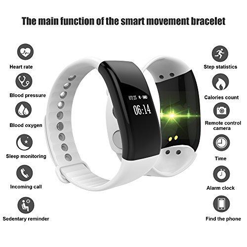 Pulsera Inteligente con Pulsómetro, Activity Tracker Bluetooth Podómetro con Sleep Monitor de Actividad para Mujer Hombre Impermeable IP67 Smart Watch para ...