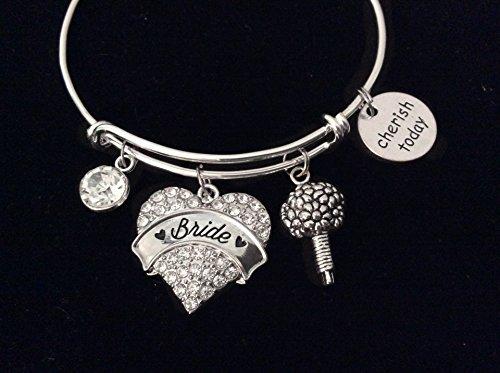 Cherish Today Bride Expandable Charm Bracelet Adjustable Wire Bangle Wedding Shower Bridal Gift Something Blue Bouquet