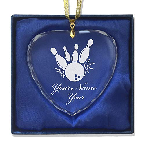 Pin Photo Bowling (SkunkWerkz Christmas Ornament, Bowling Ball Pins, Personalized Engraving Included (Heart Shape))