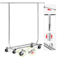 Yaheetech Adjustable Clothes Rail Heavy Duty Garment Rack with wheels
