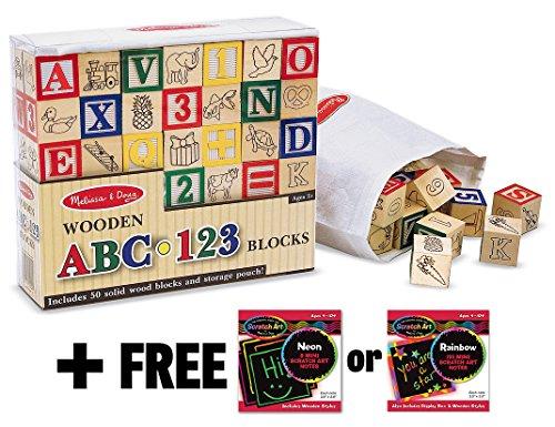 Deluxe 50-piece Wooden ABC & 123 Blocks Set + FREE Melissa & Doug Scratch Art Mini-Pad Bundle [19002]