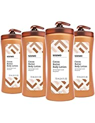 Amazon Brand - Solimo Body Lotion, with Cocoa Butter, 24.5 Fluid Ounce (Pack of 4)