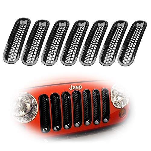 iJDMTOY 7-Piece Set Black Front Grille Trim Insert Cover Kit for 2007-2017 Jeep Wrangler JK 2-Door 4-Door