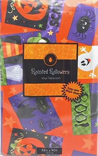 Halloween Holiday Flannel Backed Vinyl Tablecloth: Cute Ghosts, Spiders, Jack O Lanterns, Vampire, Witch Postcards on Orange Background with Fun and Colorful Pictures