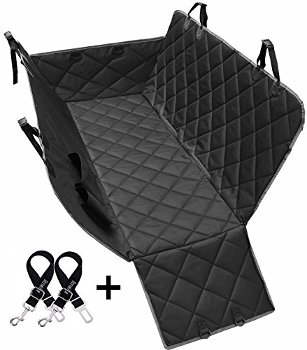 Dog Seat Covers, 600D Waterproof Pet Car Seat Covers with 2 Dog Seat Belts & Pocket - Nonslip Back Seat Cover Dog...