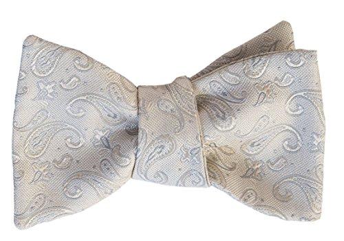 Elizabetta Men's Handmade Luxury Italian Designer Self Tie Bow Tie (Silver Paisley) ()