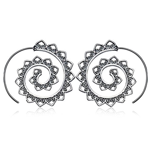 MengPa Fashion Bohemian Spiral Earrings Round Tribal Hoop Jewelry for Women - Round Tribal
