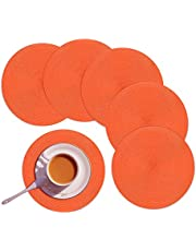 """Homcomoda Round Placemats Set of 6 Heat Resistant Round Braided Woven Place Mats for Dining/Kitchen Table Orange Table Mats 15"""""""